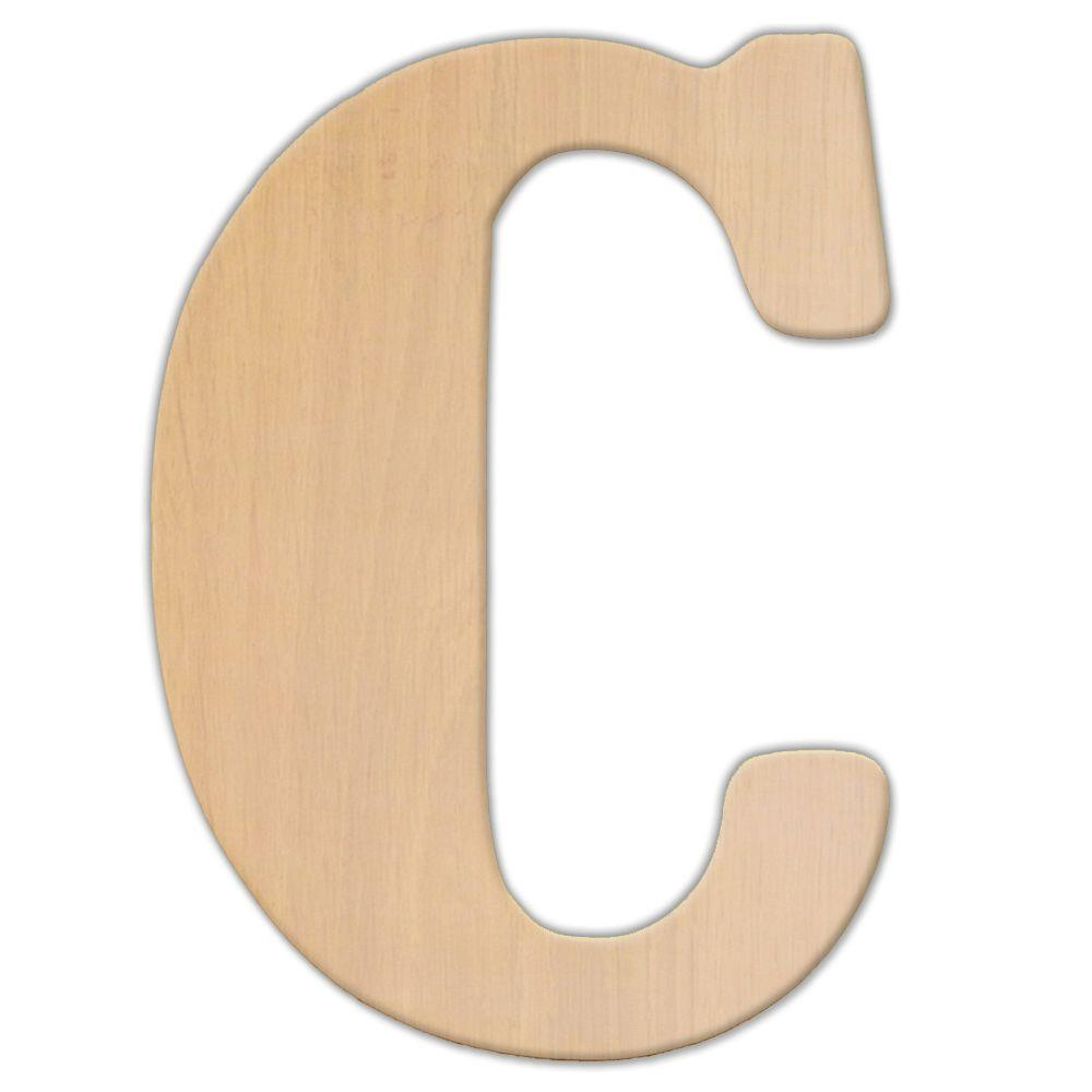 oversized unfinished wood letter c