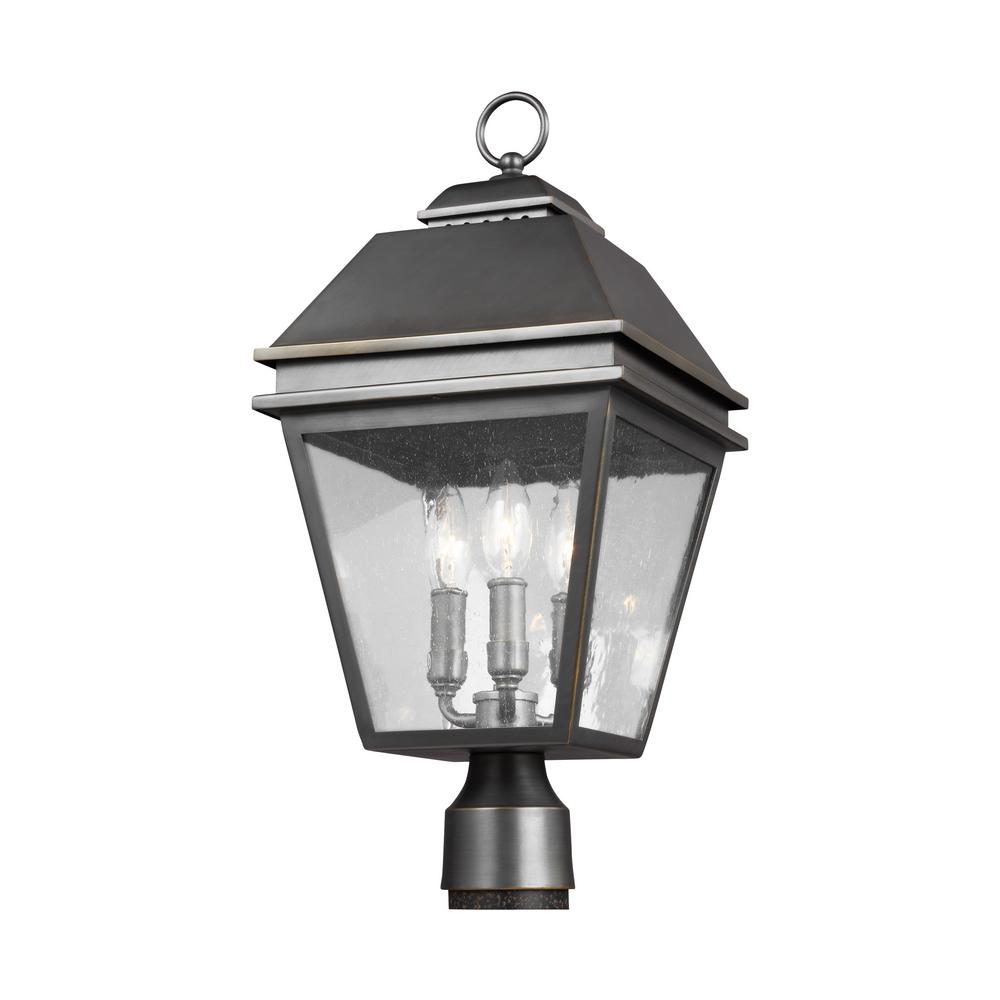 Eglo post lighting outdoor lighting the home depot herald 3 light outdoor antique bronze post light arubaitofo Choice Image