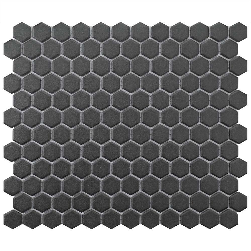 Gotham Hex Black 10-1/4 in. x 11-3/4 in. x 5mm Porcelain Unglazed Mosaic Tile (8.56 sq. ft. / Case)