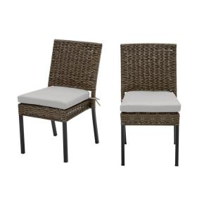 Laguna Point Brown Wicker Outdoor Patio Dining Chair with CushionGuard Stone Gray Cushions (2-Pack)