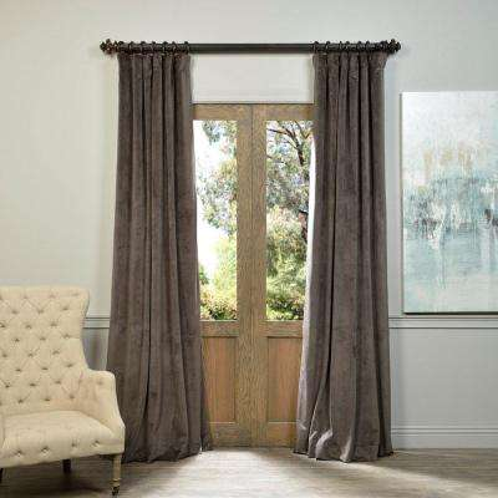 blackout signature gunmetal grey blackout velvet curtain 50 in w x 108 in
