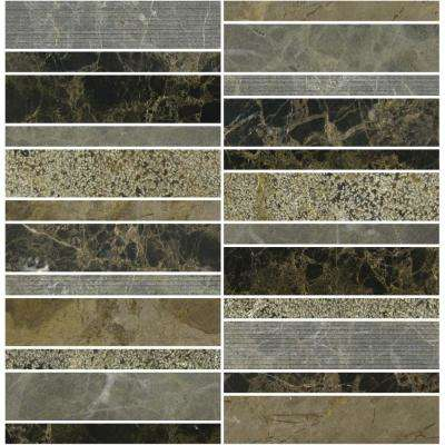 Marble Medley Dark Emperador Random Stacked 12 in. x 12 in. x 7.9 mm Mixed Finish Marble Mesh-Mounted Mosaic Tile
