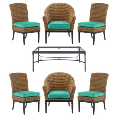 Camden 7-Piece Seagrass Light Brown Wicker Outdoor Patio Dining Set with CushionGuard Seaglass Turquoise Cushions