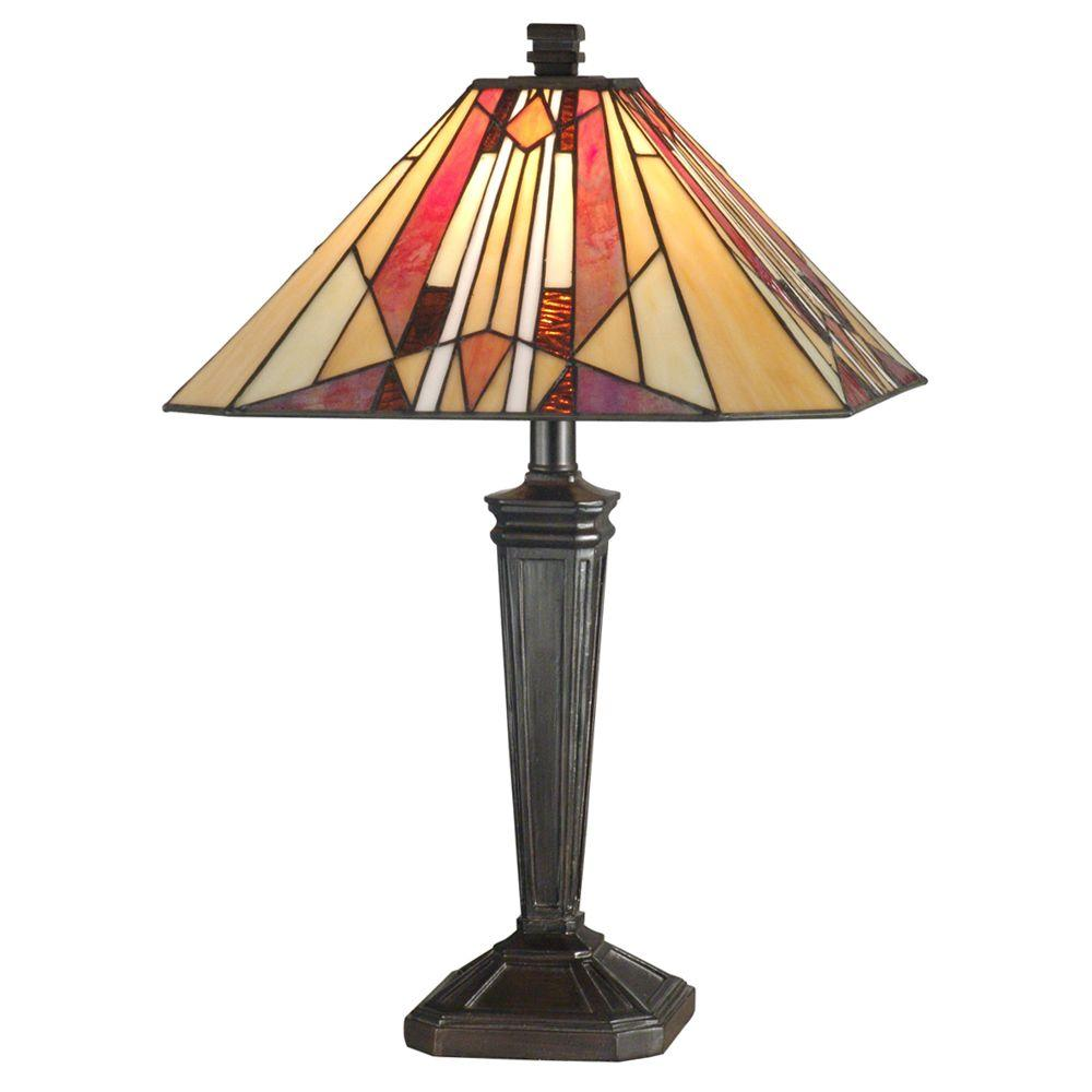 Dale Tiffany Frediano 22 in. Mica Bronze Art Glass Table Lamp