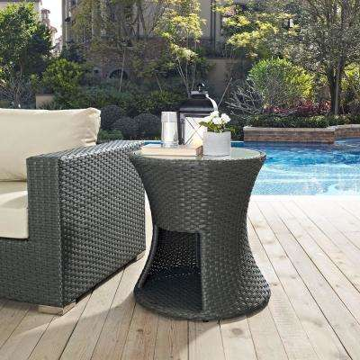Sojourn Patio Wicker Outdoor Side Table in Chocolate