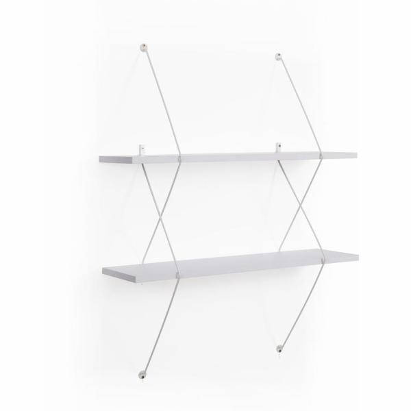 DANYA B Contemporary 2-Level White Shelving System with White Wire Brackets