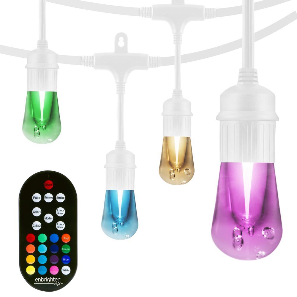 12-Bulb 24 ft. Vintage Seasons Integrated LED Color Changing Cafe String Lights, White