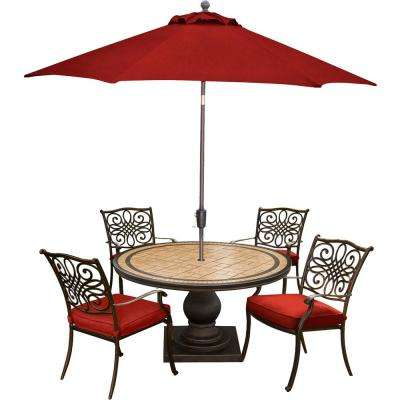 Monaco 5-Piece Aluminum Outdoor Dining Set with Red Cushions, 4 Dining Chairs, Tile-Top Table, and a 9 ft. Umbrella