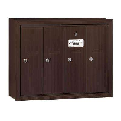 3500 Series Bronze Surface-Mounted Private Vertical Mailbox with 4 Doors
