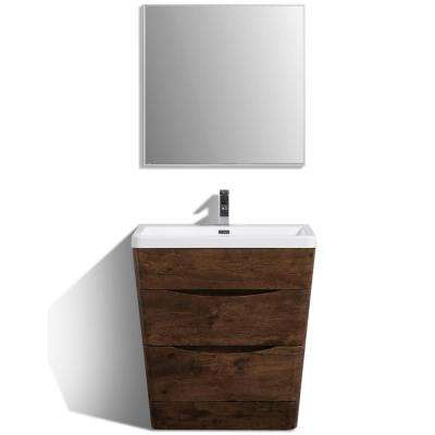 Victoria 31.50 in. W x 20 in. D x 34 in. H Vanity in Rosewood with Acrylic Vanity Top in White with White Basin