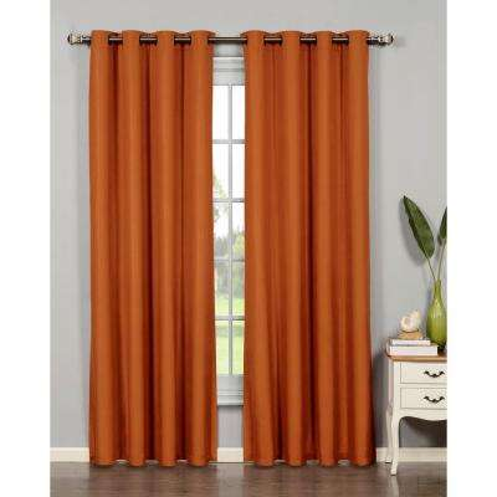 Semi-Opaque Emma Microfiber Extra Wide 84 in. L Room Darkening Grommet Curtain Panel  sc 1 st  The Home Depot & Orange - Terracotta - Curtains \u0026 Drapes - Window Treatments - The ...