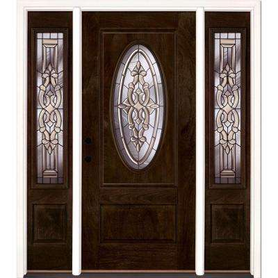 67.5 in.x81.625in.Silverdale Patina 3/4 Oval Lt Stained Chestnut Mahogany Rt-Hd Fiberglass Prehung Front Door w Sidelite