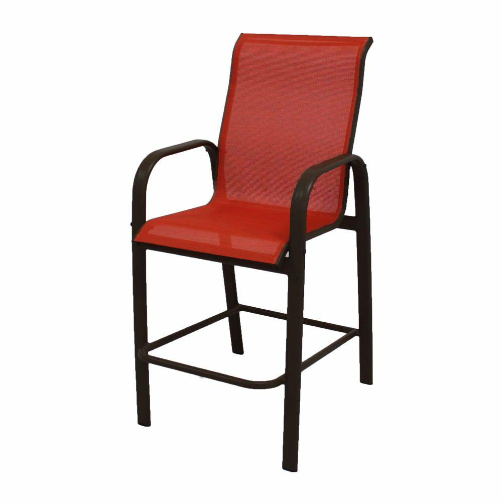 Marco Island Dark Cafe Brown Commercial Grade Aluminum Bar Height Outdoor Patio Dining Chair with Metallica Salsa Sling