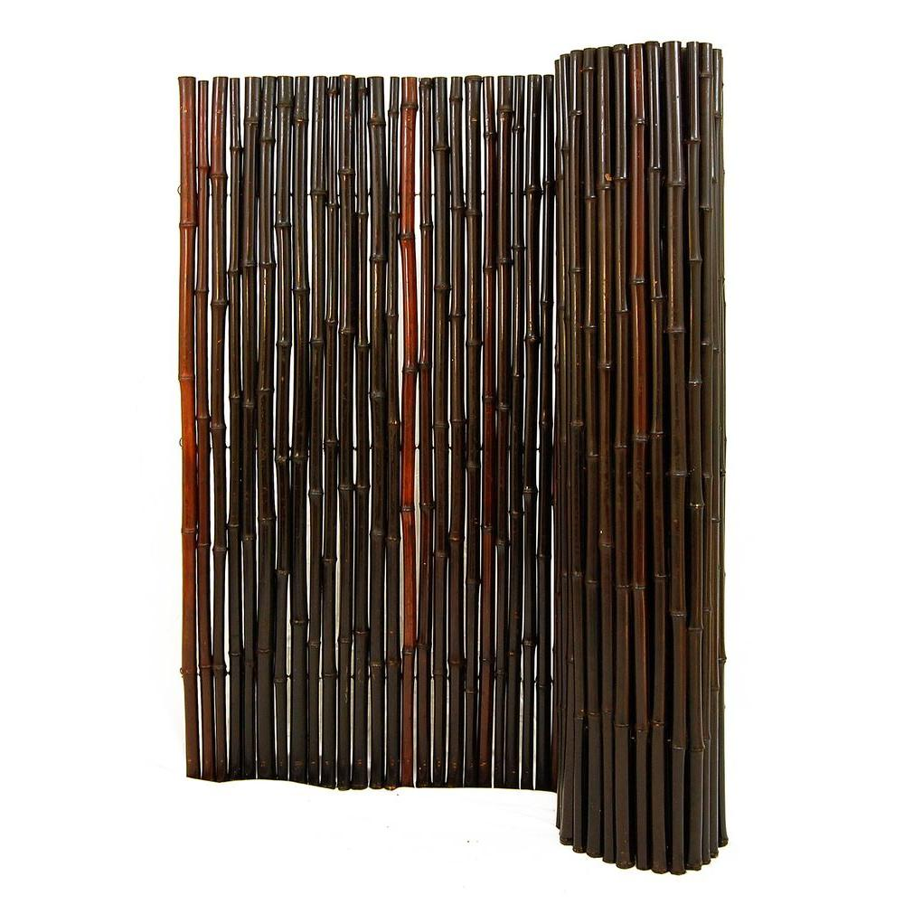 Backyard X-Scapes 1 in. D x 3 ft. H x 8 ft. L Stained Mahogany Rolled Bamboo Fence