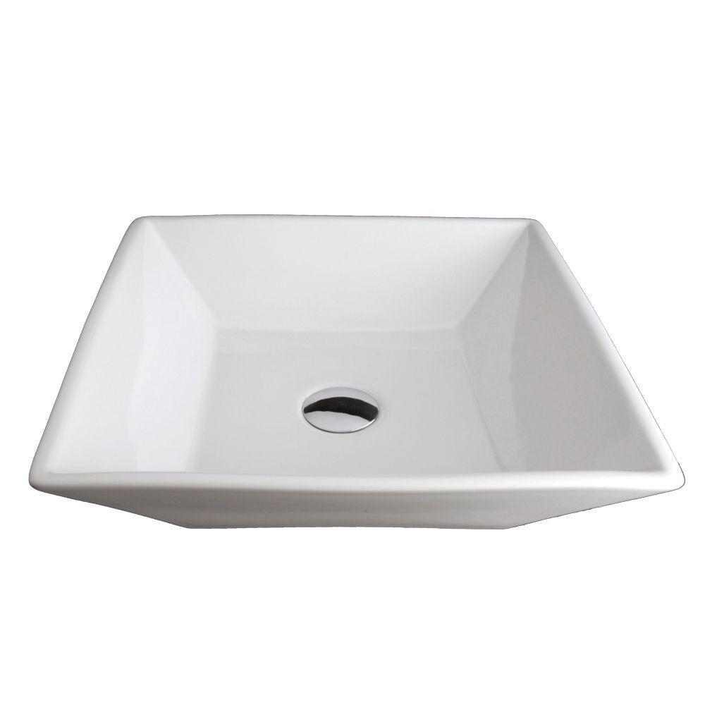 Square Porcelain Vessel Bathroom Sink in White