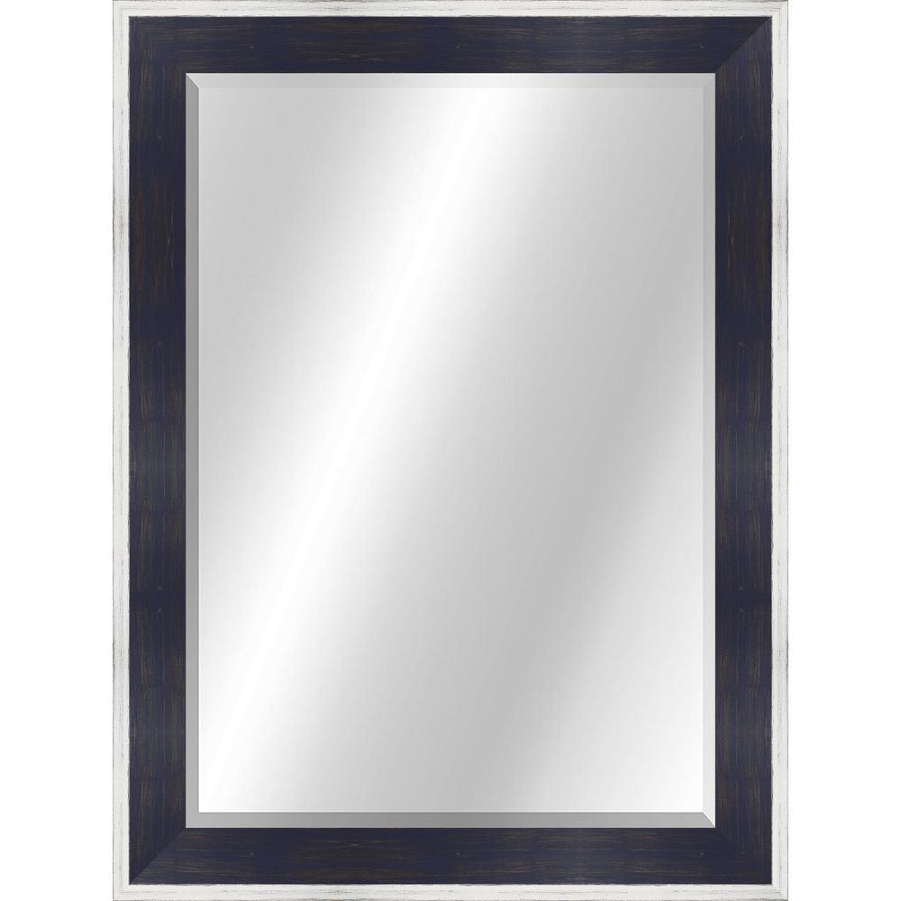 Rustic 22 x 28 Natural Wood White / Blue Framed Vanity Mirror