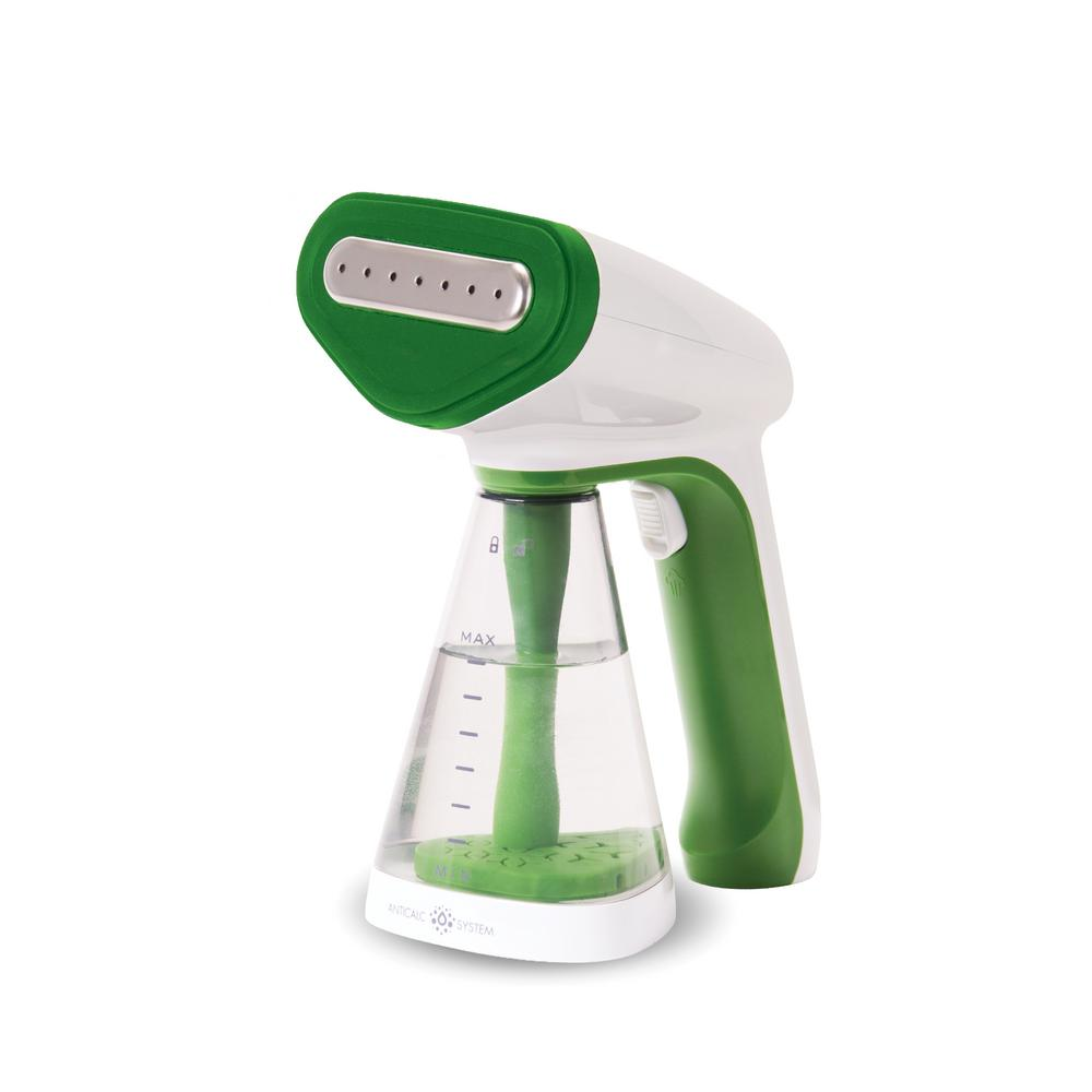 Portable Handheld Travel Garment Steamer, White/Green Whether traveling or just touching up a wrinkle at home, the Laundry Pod Portable Steamer is handy for whatever your clothing requires. Complete with an intelligent automatic power-off function for energy conservation and optimal safety, the appliance conveniently steams and restores your clothing to perfect condition in minutes. Take the steamer with you on a business trip or simply prep for a night out - no matter the occasion the Portable Steamer is ready to help. Easy assembly for optimal convenience and portability and includes a Bottle Connector attachment for a water bottle, making the appliance optimal for traveling. Color: White/Green.