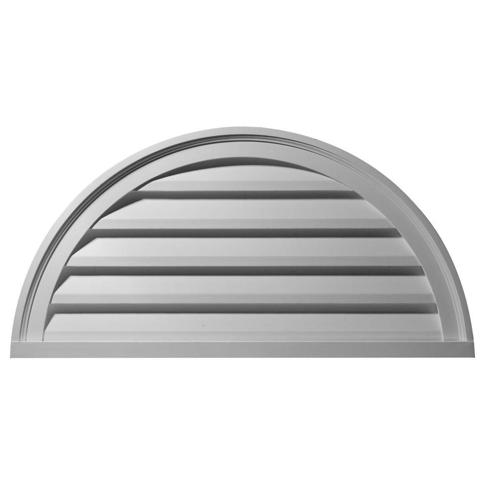 Ekena Millwork 2 in. x 40 in. x 20 in. Decorative Half Round Gable Louver Vent