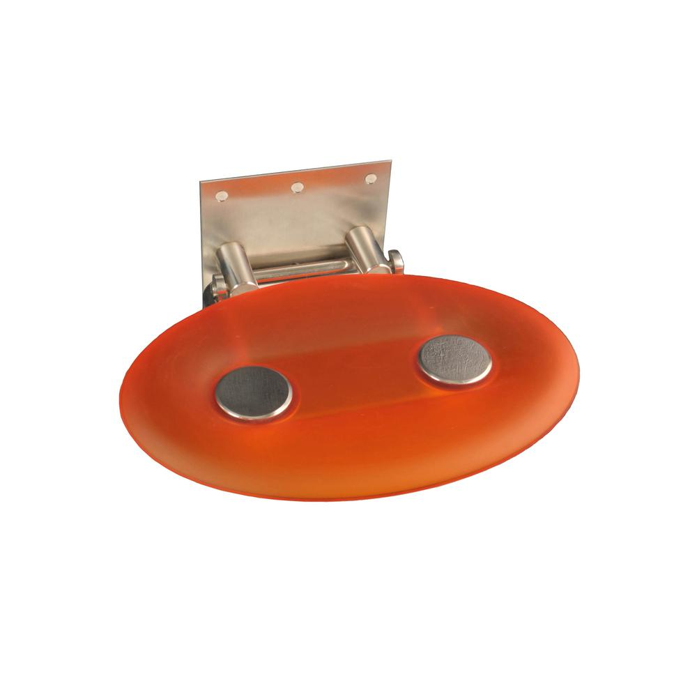 Modern Oval 16 in. x 10-7/8 in. Fold-up Shower Seat in Orange ...
