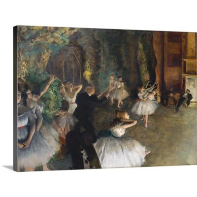 """""""The Rehearsal of the Ballet Onstage"""" by Edgar Degas Canvas Wall Art"""