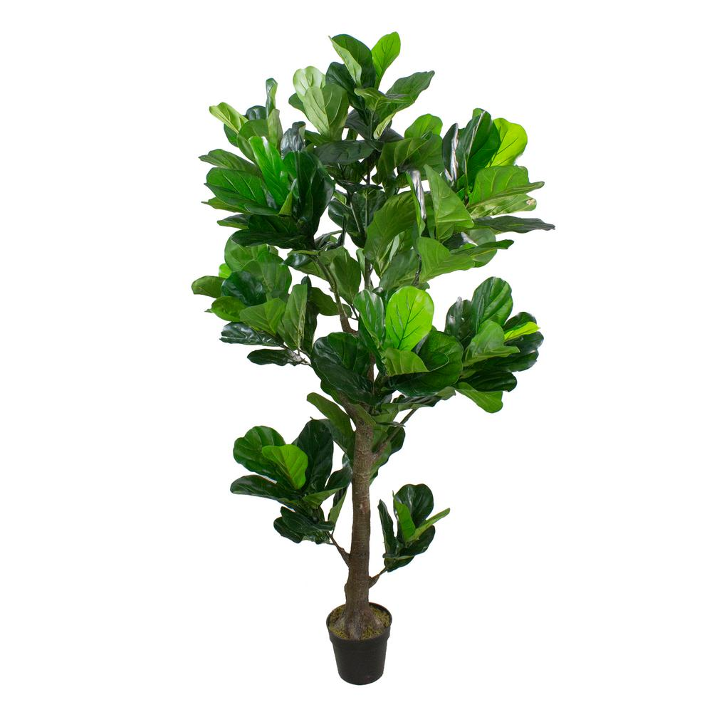 Northlight 74 In Dark Green Artificial Fiddle Leaf Fig Potted Tree 33377305 The Home Depot