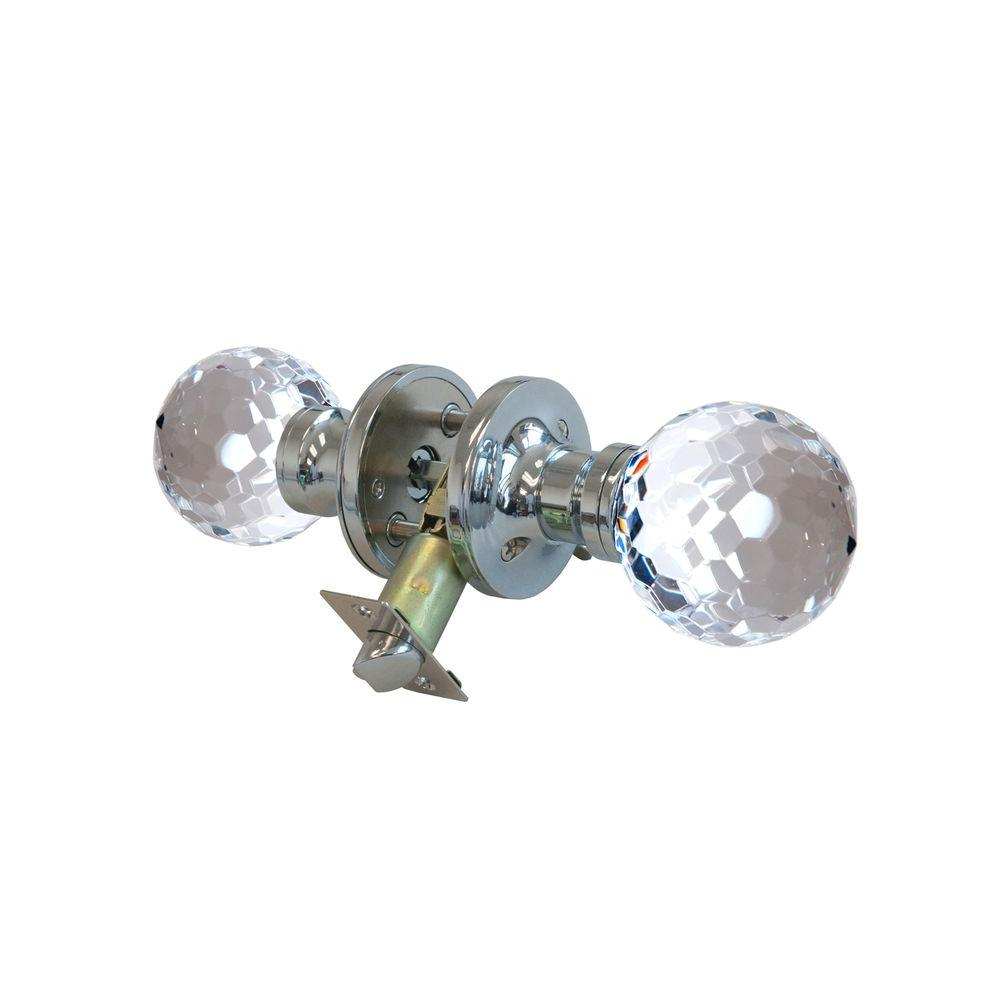 Krystal Touch of NY Honeycomb Crystal Chrome Privacy Door Knob with LED Mixing Lighting Touch Activated