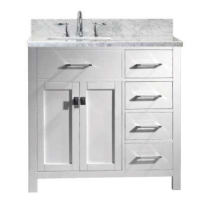 Caroline Parkway 36 in. W x 22 in. D Single Vanity in White with Marble Vanity Top in White with White Basin