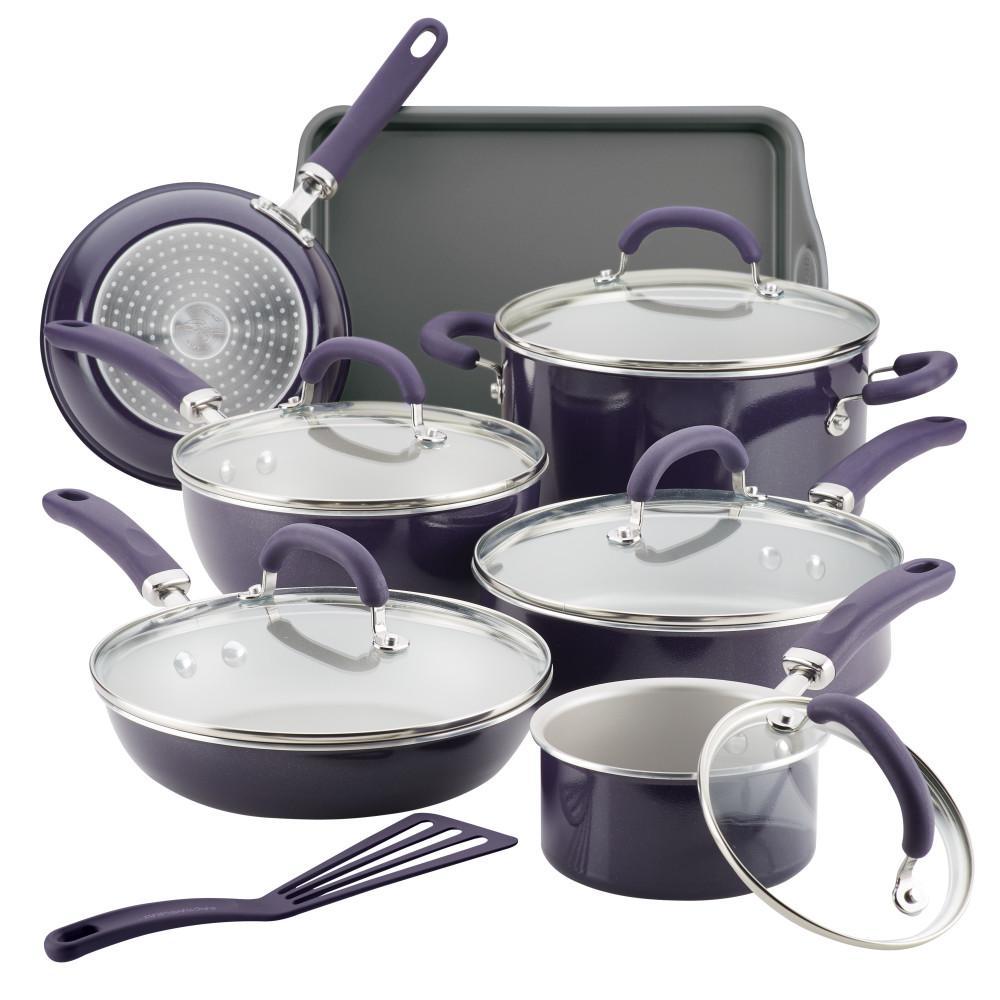 Create Delicious 13-Piece Purple Shimmer Aluminum Nonstick Cookware Set