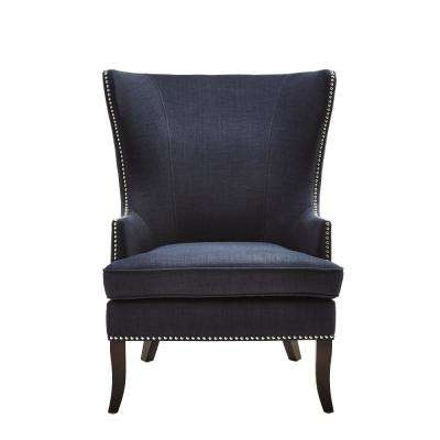 Moore Midnight Blue Fabric Wing Back Accent Chair