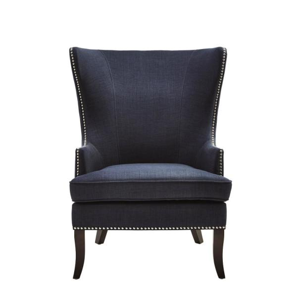 Home Decorators Collection Moore Midnight Blue Fabric Wing Back Accent Chair