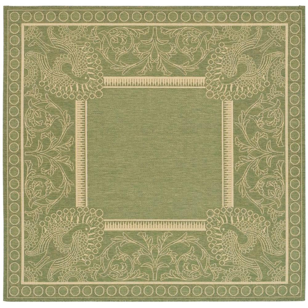 Safavieh Courtyard Olive Natural 7 Ft 10 In X 7 Ft 10
