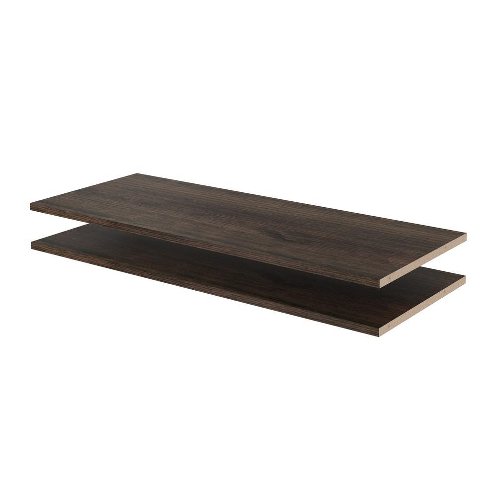 Closet Evolution 35 in. x 14 in. Espresso Wood Shelves (2-Pack)