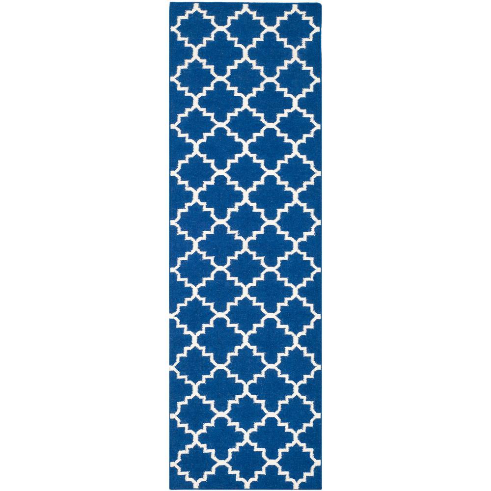 Dhurries Dark Blue 3 ft. x 14 ft. Runner Rug