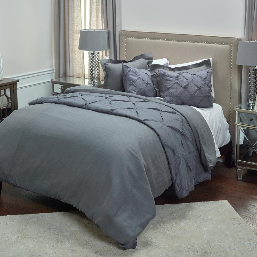 Charcoal Solid King Linen Duvet Cover