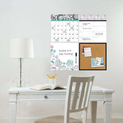 Multi-Color Floral Medley Organization Kit Wall Decal