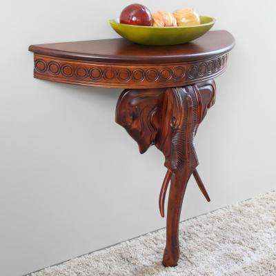 Walnut Stained Hand Carved Wood Elephant Console Table