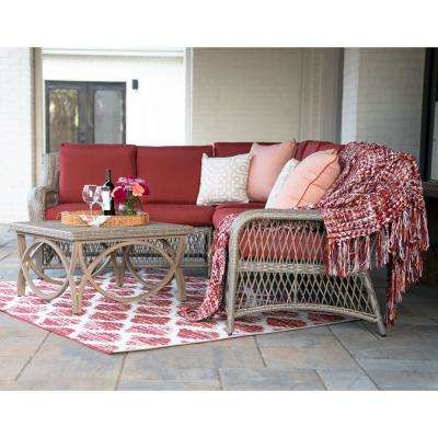 Birmingham 5-Piece Wicker Outdoor Sectional Set with Red Cushions