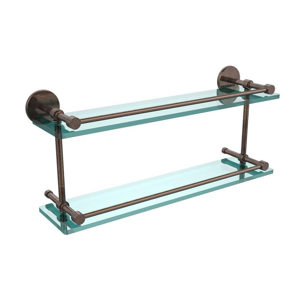 22 in. L  x 8 in. H  x 5 in. W 2-Tier Clear Glass Bathroom Shelf with Gallery Rail in Venetian Bronze