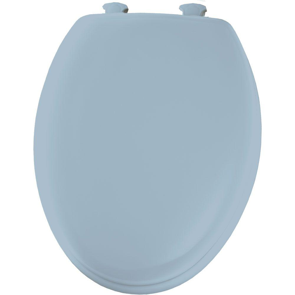 Elongated Closed Front Toilet Seat in Sky Blue