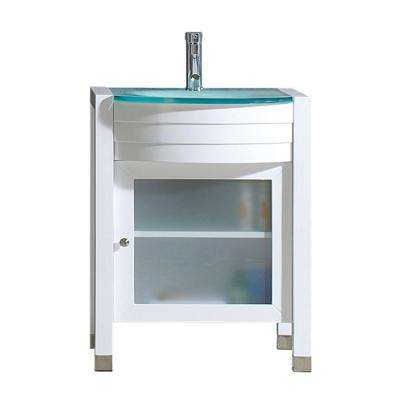 Ava 24 in. W Bath Vanity in White with Glass Vanity Top in Aqua Tempered Glass with Round Basin and Faucet