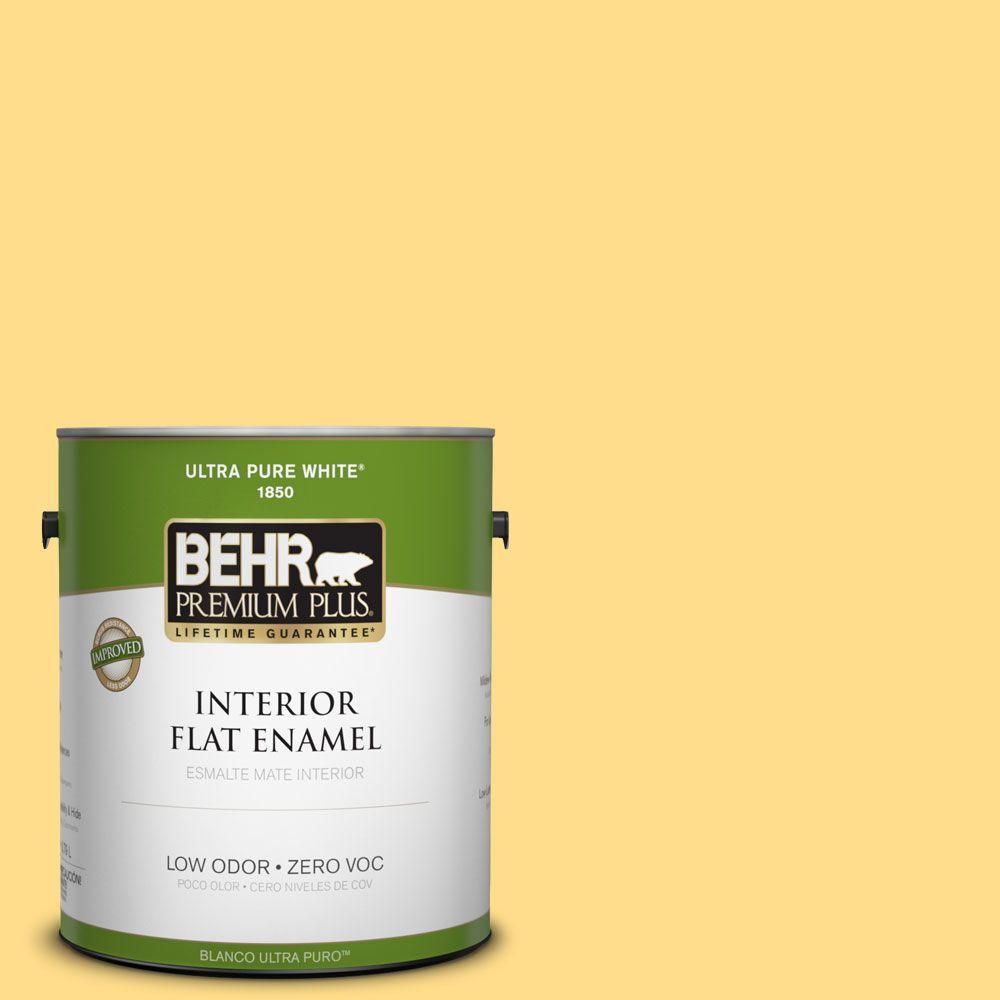 BEHR Premium Plus 1-gal. #330B-5 Yellow Corn Zero VOC Flat Enamel Interior Paint-DISCONTINUED