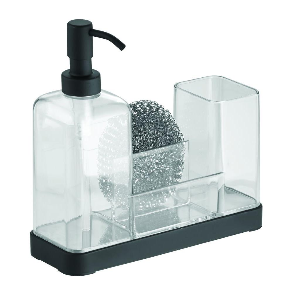interDesign Forma 2 Soap and Brush Caddy in Matte Black/Clear-66897 ...