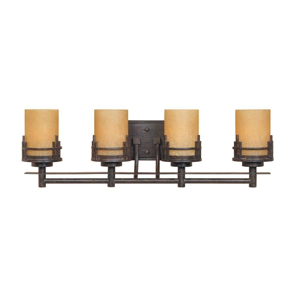 Designers Fountain Mission Hills Collection 4-Light Warm Mahogany Wall  Mount Vanity Light-82104-WM - The Home Depot