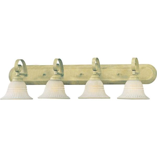 4-Light Indoor Golden Coral Bath or Vanity Light Wall Mount or Wall Sconce with Scavo Glass Bell Shades