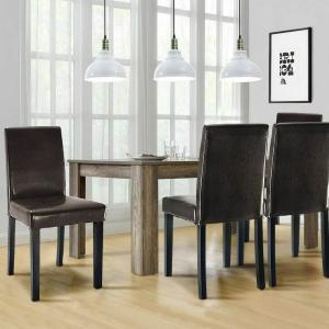 Elegant Design Brown Leather Contemporary pholstered Dining Chairs Home  Room Set of 2