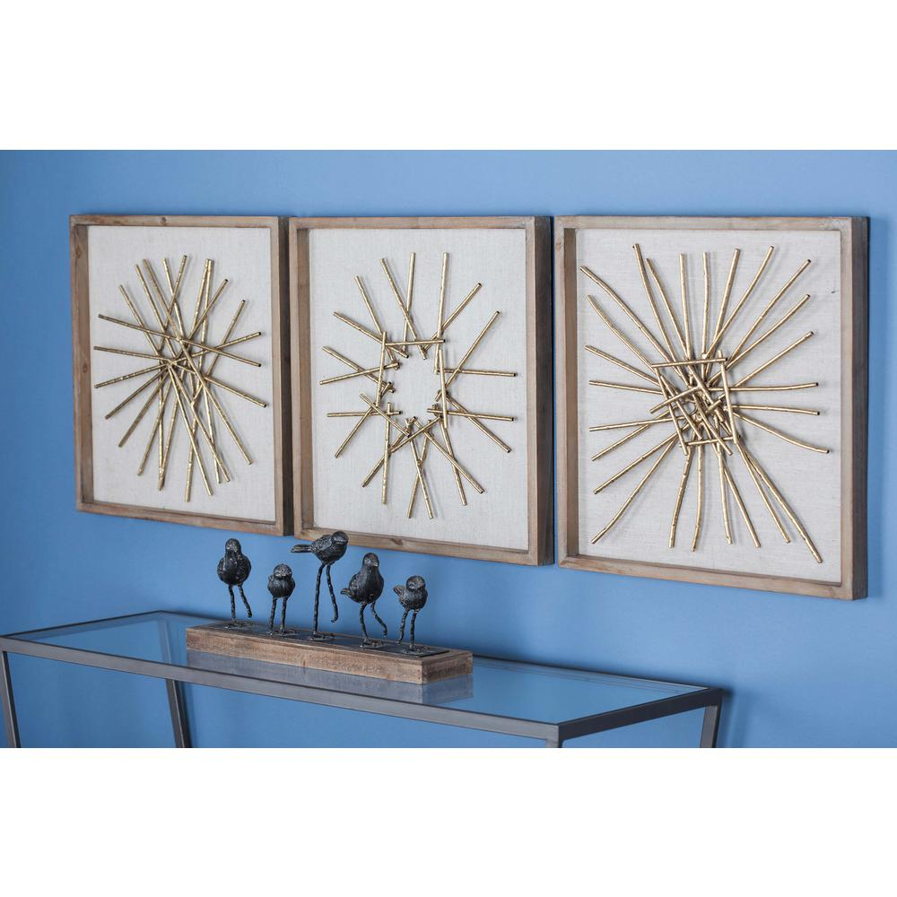 3-Piece Modern Abstract Gold-Finished Iron Accents Metal Wall Decor