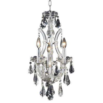 4-Light Chrome Pendant with Clear Crystal