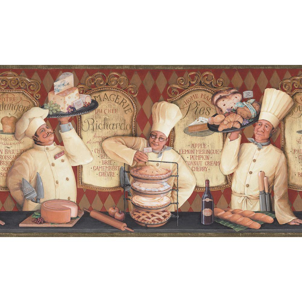 The Wallpaper Company 10.25 in. x 15 ft. Red Earth Tone The Bakery Shop Border-DISCONTINUED