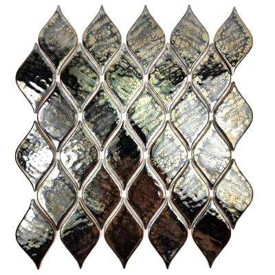 Monet Dark Green 11 in. x 13 in. x 4.76 mm Porcelain Mosaic Tile