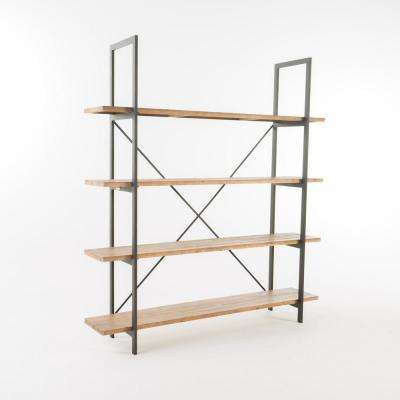 Irene Antique Fir Wood and Iron Bookcase